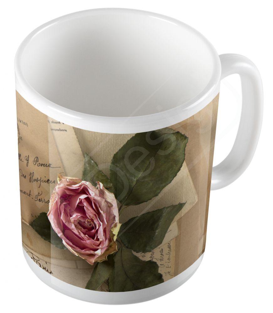 Retro leveles rózsa bögre