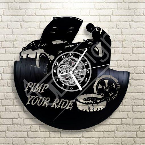 Autószerelős hanglemez óra - bakelit óra