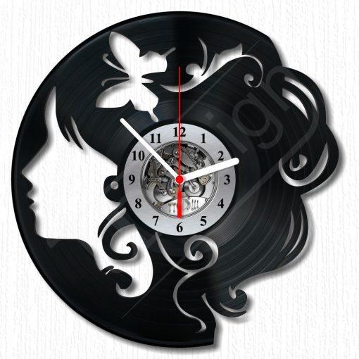 Lány pillangóval hanglemez óra - bakelit óra