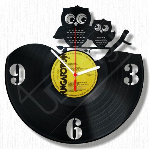 Baglyok hanglemez óra - bakelit óra