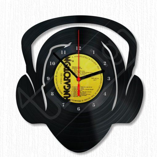 Fejhallgatós fej hanglemez óra - bakelit óra