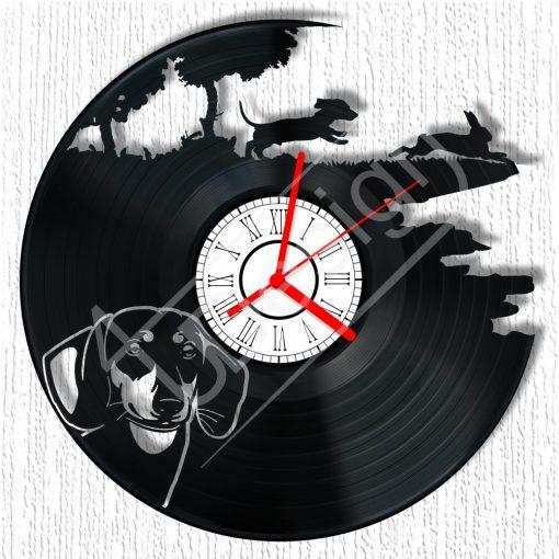 Kutyás tacskós hanglemez óra - bakelit óra
