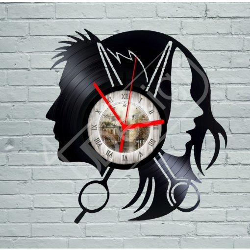 Fodrász, borbély hanglemez óra - bakelit óra