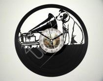 Gramofon kutyával hanglemez óra