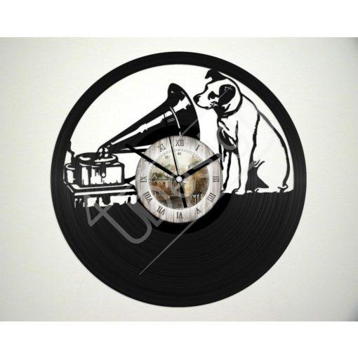 Gramofon kutyával hanglemez óra - bakelit óra