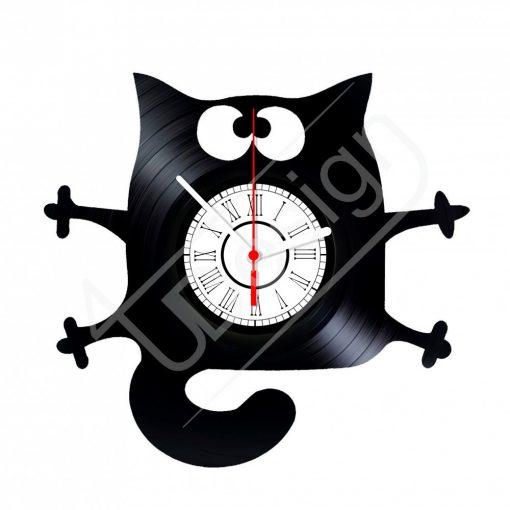 Macska hanglemez óra - bakelit óra