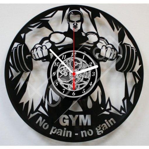 No pain - no gain Body builder hanglemez óra - bakelit óra