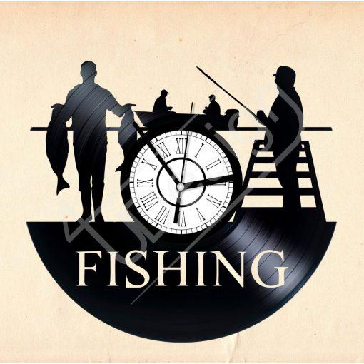 Horgászos hanglemez óra - bakelit óra