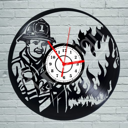 Tűzoltó hanglemez óra - bakelit óra