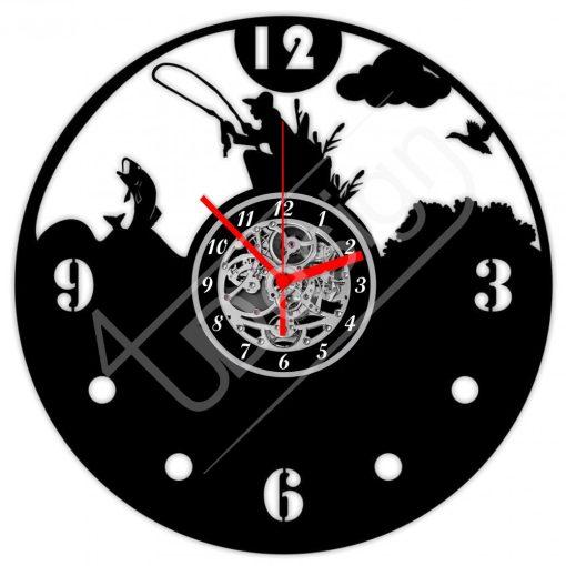Pecás, horgászos hanglemez óra - bakelit óra