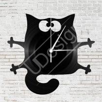 Macskás bakelit hanglemez óra
