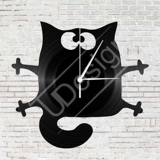 Macskás  hanglemez óra - bakelit óra