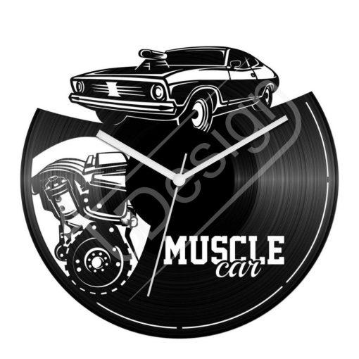 Muscle Car izomautós autós hanglemez óra - bakelit óra
