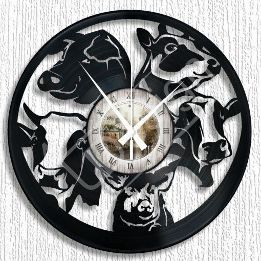 Bakelit óra Tehenes, malacos bakelit hanglemez óra