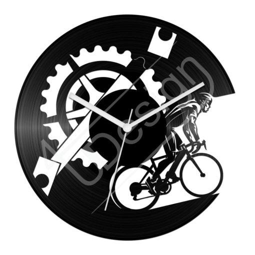 Kerékpáros hanglemez óra - bakelit óra