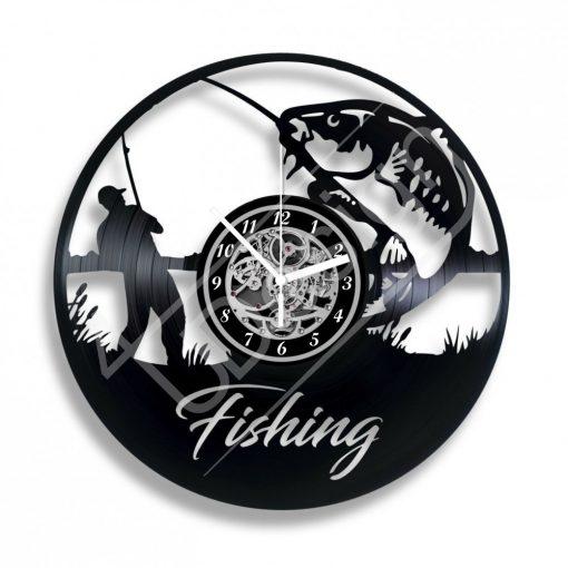 Fishing hanglemez óra saját felirattal - bakelit óra