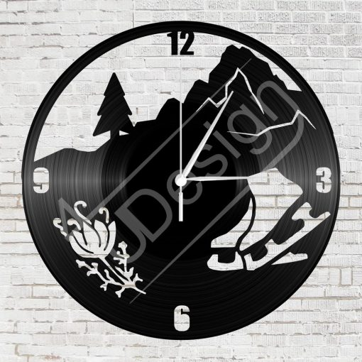 Jégkorcsolya hanglemez óra - bakelit óra