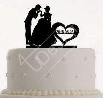 TD0801221 - Cinderella-s sziluett tortadísz dátummal