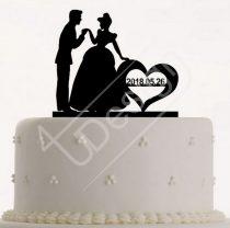 TD0801222 - Cinderella-s sziluett tortadísz dátummal