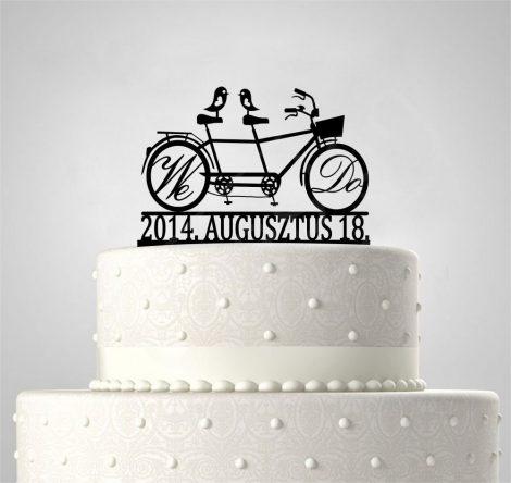 TD5080516 - We Do tandem bicikli, EGYEDI FELIRATTAL sziluett esküvői tortadísz