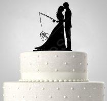 TD5080517 - Mr és Mrs kihorgászva, sziluett esküvői tortadísz