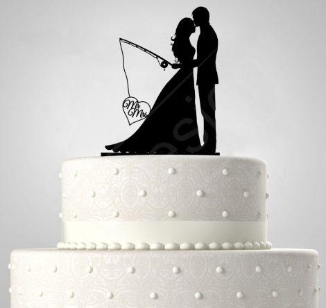 RK-TD5080517 - Mr és Mrs kihorgászva, sziluett esküvői tortadísz