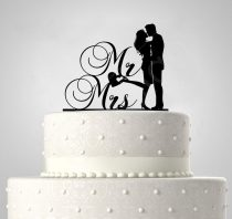 RK - TD508054 - Mr és Mrs, sziluett esküvői tortadísz