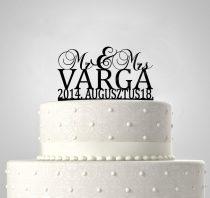 TD6012101 - Mr & Mrs egyedi sziluett esküvői tortadísz