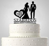 TD6012102 - Mr & Mrs egyedi sziluett esküvői tortadísz