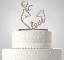 TD6013002 - Szarvas és őzike LOVE egyedi sziluett esküvői tortadísz