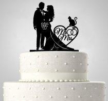 TD6013003 - Mr & Mrs cicás egyedi sziluett esküvői tortadísz