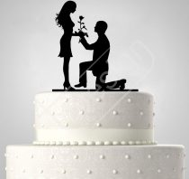 TD6021903 - Lánykérés, sziluett esküvői tortadísz