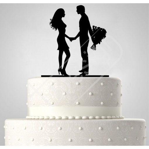 TD6021904 - Fiatal pár csokorral, sziluett esküvői tortadísz