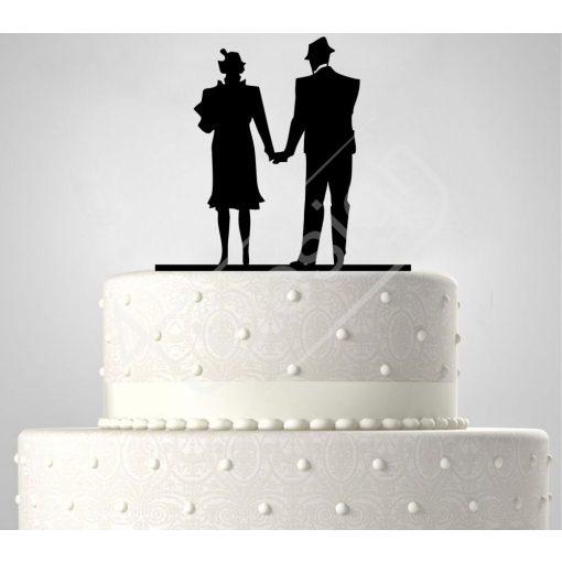 TD6021905 - Idősebb kalapos pár, sziluett esküvői tortadísz
