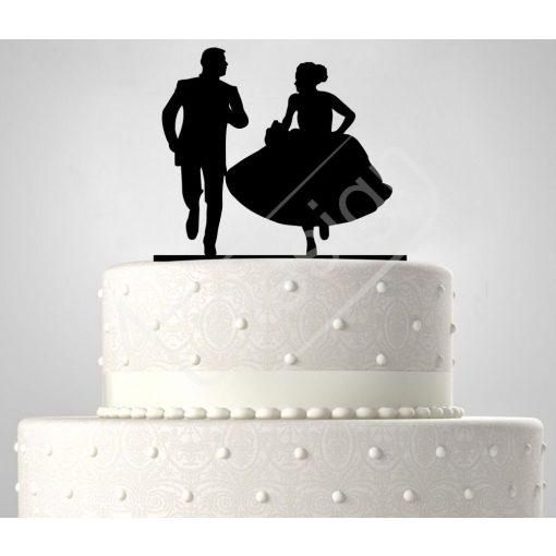 TD6021906 - Rohanó pár, sziluett esküvői tortadísz