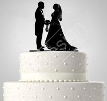 TD6021909 - Középkorú esküvői pár, sziluett esküvői tortadísz