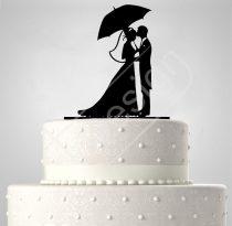 TD6021910 - Pár esernyővel, sziluett esküvői tortadísz