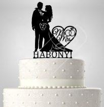 TD6022206 - Mr és Mrs névvel, sziluett esküvői tortadísz