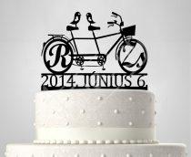 TD6042205 - Monogrammos tandem bicikli, sziluett esküvői tortadísz