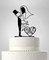 TD6053005 - Rendhagyó pár szívvel esküvői tortadísz