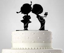 TD6061003 - Sziluett esküvői tortadísz kislány-kisfiú