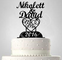 TD6061101 - Sziluett esküvői tortadísz nevekkel, szívvel