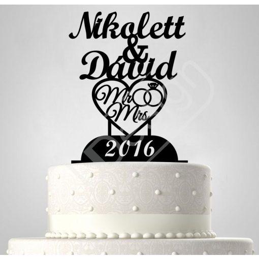 TD6061101 - Sziluett esküvői tortadísz nevekkel, szívvel  A-C2