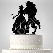 TD6061106 - Sziluett esküvői tortadísz Szépség és Szörnyeteg