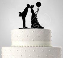 TD6062201 - Mátkapár léggömbbel sziluett esküvői tortadísz