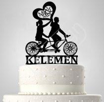 TD6071501 - Sziluett esküvői tortadísz tandem bicajos