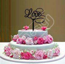 Esküvői tortadísz - Love felirat V1