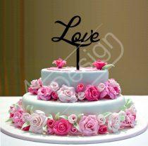 Esküvői tortadísz - Love felirat V2