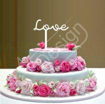 Esküvői tortadísz - Love felirat V3