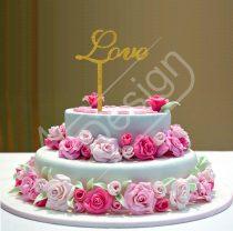 Esküvői tortadísz - Love felirat V4